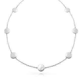 Bling Jewelry .925 Sterling Silver Cultured Coin Pearl Tin Cup Bridal Necklace 10mm 2 Inches