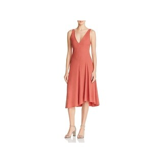 Theory Womens Tadayon Casual Dress Double V-Neck Tea-Length