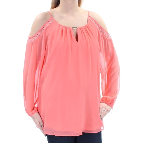 d7efe32944c63 Shop CALVIN KLEIN  80 Womens New 1450 Coral Cold Shoulder Long Sleeve Top L  B+B - Free Shipping On Orders Over  45 - Overstock.com - 21282402