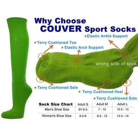 Bright Green Couver Knee High Unisex Sports Athletic Baseball Softball Socks(3 Pairs)
