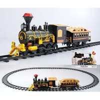 10-Piece Black Battery Operated Lighted & Animated Classic Train Set with Sound
