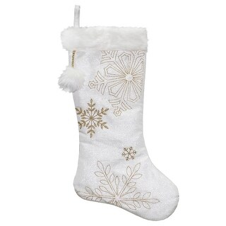 """20"""" White Metallic Christmas Stocking with Gold Embroidered Snowflakes and Faux Fur cuff and Pom"""