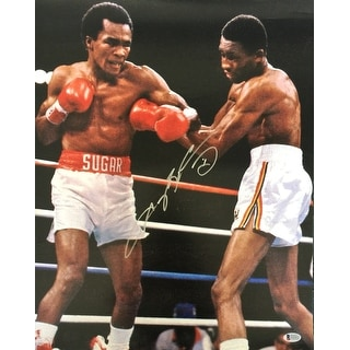 Sugar Ray Leonard Signed 16x20 Vs Tommy Hearns Boxing Photo BAS