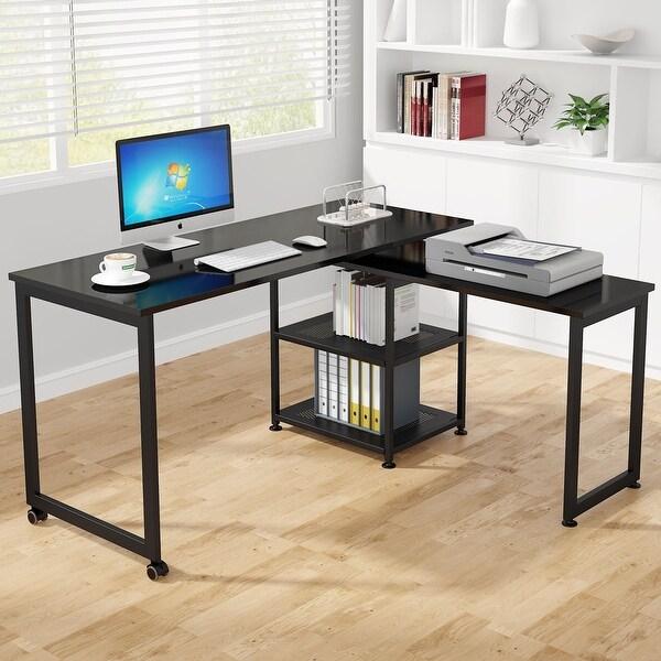 Tribesigns Modern L-Shaped Desk with Storage Shelves, 360°Rotating Desk Corner Computer Desk. Opens flyout.