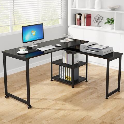 Tribesigns 55 inch L Shaped Desk,360°Free Rotating Modern Computer Desk with Storage Shelves