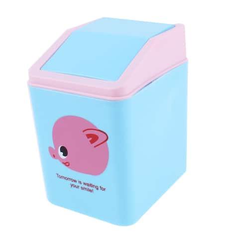 Unique Bargains Office Desktop Plastic Cartoon Pig Pattern Mini Rubbish Bin w Swinging Door