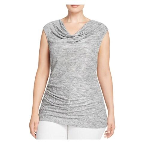 Calvin Klein Womens Plus Blouse Metallic Ruched