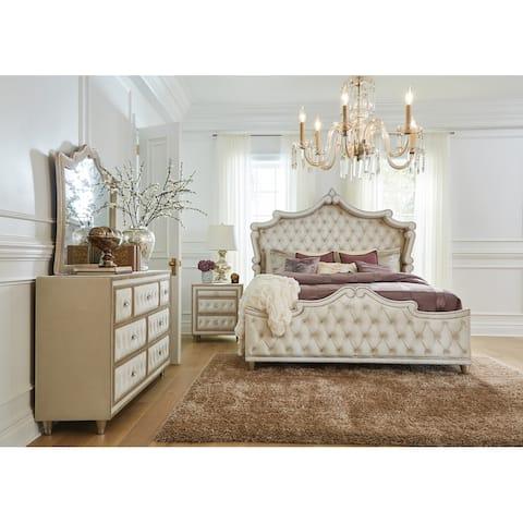 Justine Ivory and Camel 4-piece Upholstered Tufted Bedroom Set