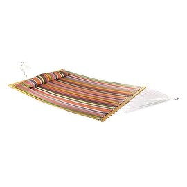 Sunnydaze 2-Person Quilted Hammock with Spreader Bars and Detachable Pillow - Hammock Stand Included