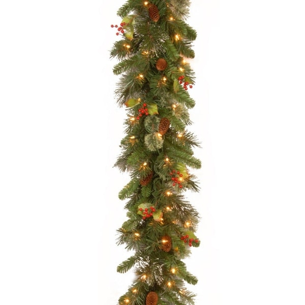 "9' x 12"" Pre-Lit Wintry Pine Artificial Christmas Garland with Cones, Berries and Snow - Clear Lights"