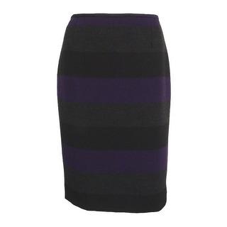 Tahari Women's Petite Striped Vented Pencil Skirt - eggplant/black/grey