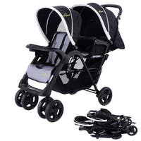 Costway Foldable Twin Baby Double Stroller Kids Jogger Travel Infant Pushchair - Black