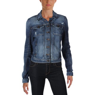 Guess Womens Brittney Jean Jacket Denim Distressed - s