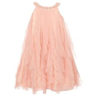 Kids Dream Girls Blush Pink A-Line Swirl Mesh Ruffle Flower Girl Dress 8-14