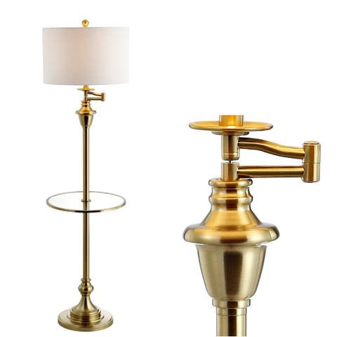 """Cora Metal/Glass LED Side Table and Floor Lamp, Brass by JONATHAN Y - Brass Gold - 60"""" H x 16"""" W x 16"""" D"""