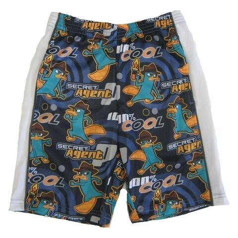 Disney Boys Navy Blue Phineas And Ferb Secret Agent Swimwear Shorts
