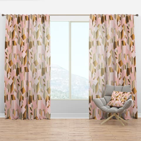 Designart 'Gold And Rose Cubes II' Mid-Century Modern Curtain Panel
