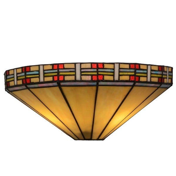 """Meyda Tiffany 144963 Arizona 2-Light 14.5"""" Wide Hand-Crafted Wall Sconce with Stained Glass - multi colored"""