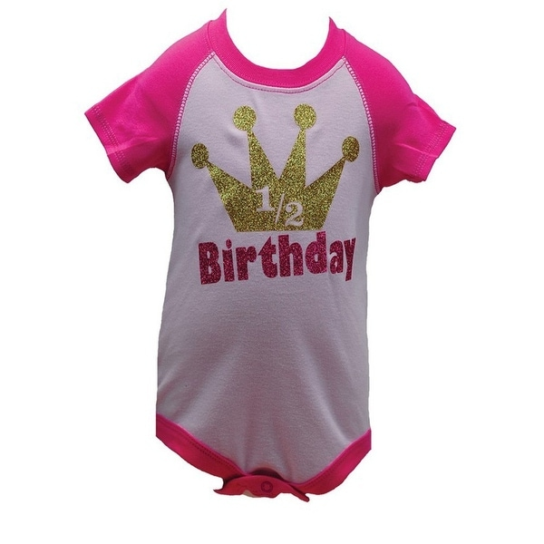 Reflectionz Baby Girls Pink Glitter Crown 1/2 Birthday Bodysuit 6-12M