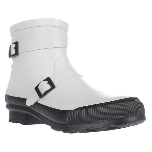 Bearpaw June Short Rain Boots , White/Black