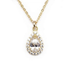"Julieta Jewelry CZ Teardrop Gold Charm 16"" Necklace"