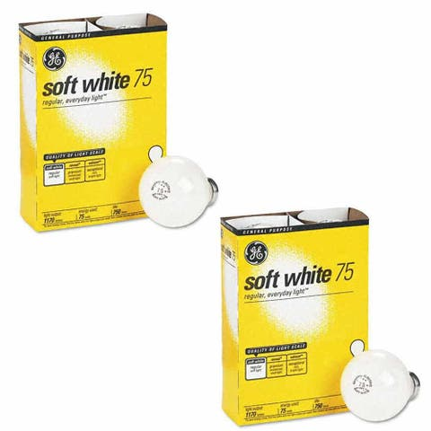 GE 41032-48 75-Watt A19, Soft White 4 Bulbs Per Pack (2 Pack) - Soft White