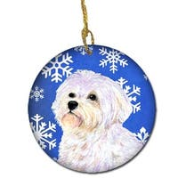 Maltese Winter Snowflakes Holiday Christmas Ceramic Ornament