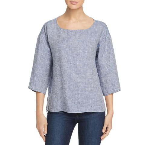 Eileen Fisher Womens Blouse Bateau Neck 3/4 Sleeve - Chambray