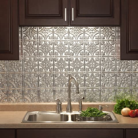 Fasade Traditional Style/Pattern 1 Decorative Vinyl 18in x 24in Backsplash Panel in Brushed Aluminum (5 Pack)