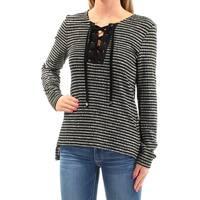SANCTUARY Womens Black Tie Striped Long Sleeve V Neck Top  Size: S