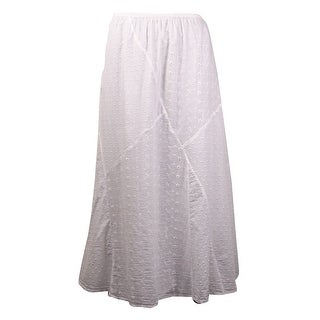 JM Collection Women's Textured Patchwork Cotton Skirt - M
