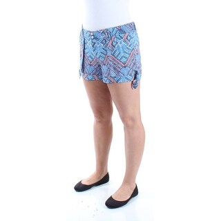 REWIND Womens Blue Tie Printed Cuffed Short Juniors Size: 2XS