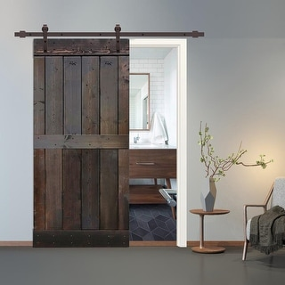42 in x 84 in Brown Stained 2 Panel Barn Door with Sliding Hardware