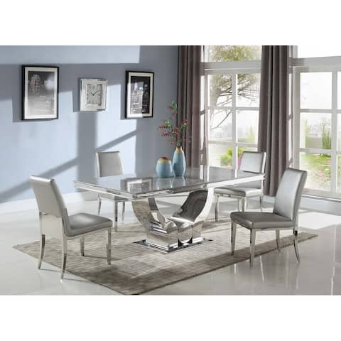 Somette Juliet Extendable Carrara Marble Dining Table