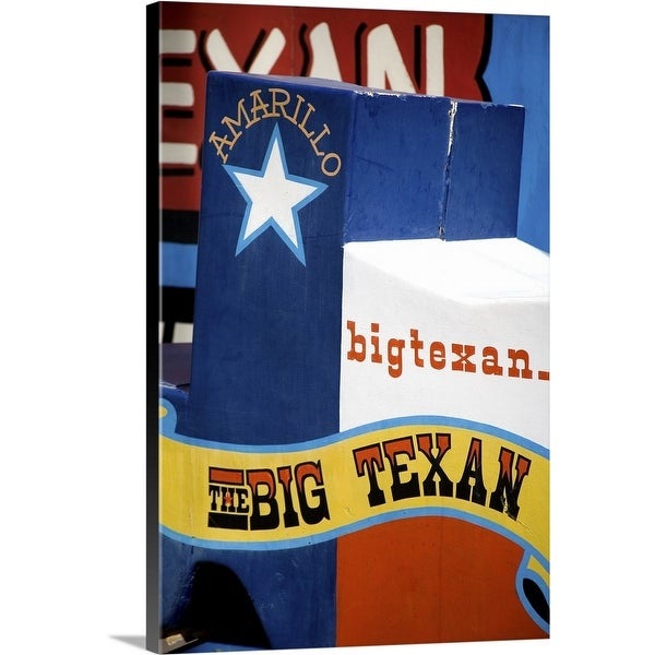 """Big Texan Steak Ranch sign on Historic Route 66, Texas"" Canvas Wall Art"
