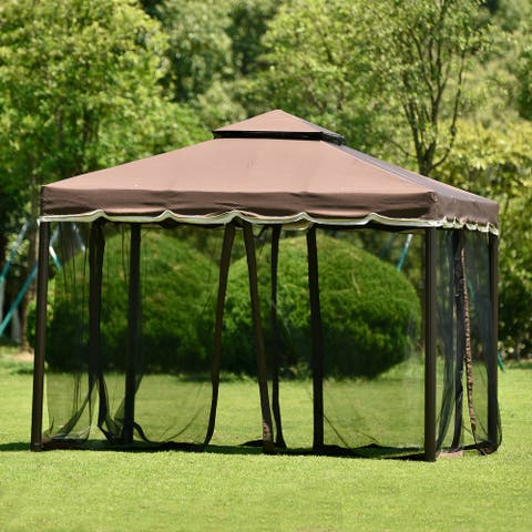 Nestfair 7 ft. x 6.8 ft. Steel Double Tiered Patio Grill Gazebo with Side Awning