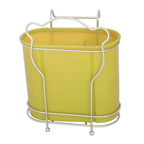 Household Kitchen Plastic 2 Compartments Spoon Chopsticks Holder Cage Organizer Yellow