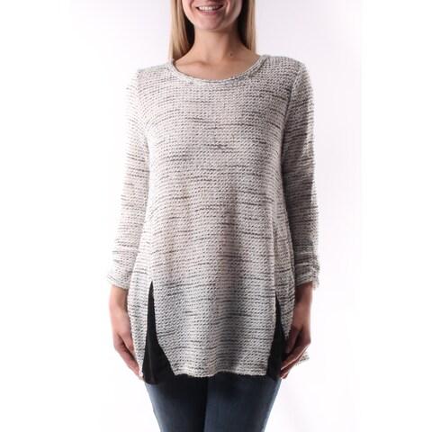 ALFANI $65 Womens New 4659 White Speckle Crew Neck 3/4 Sleeve Sweater XS B+B