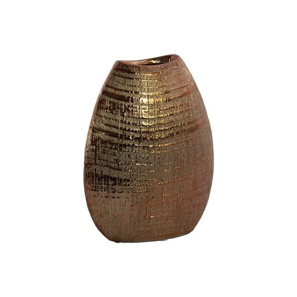 Ceramic Biconvex Crescent Ribbed Design Vase, Distressed Copper Finish