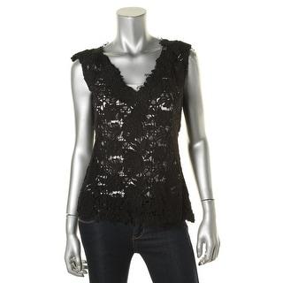 Kobi Halperin Womens Lace Knit Casual Top - M