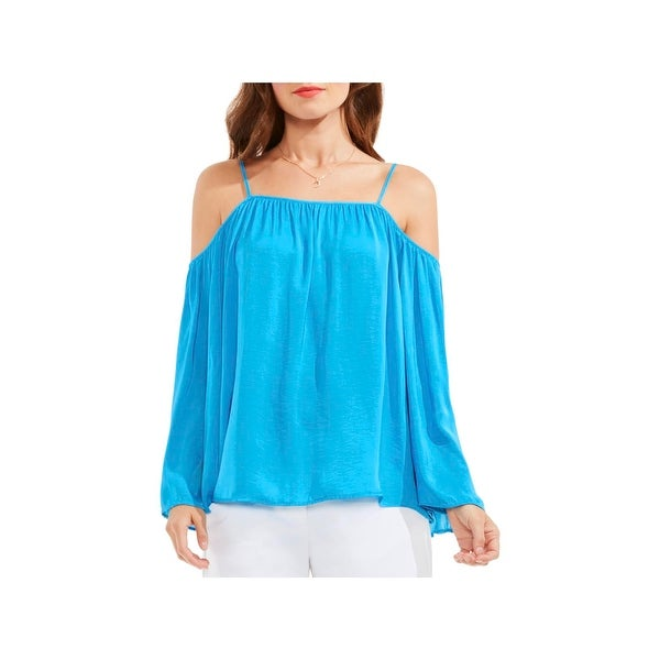 Vince Camuto Womens Blouse Cold Shoulder Long Sleeves