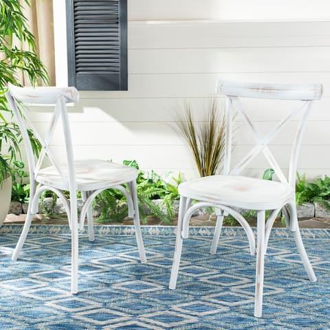 "Safavieh Outdoor Living Elia Chair - White (Set of 2) - 18.5""x16.5""x34"""