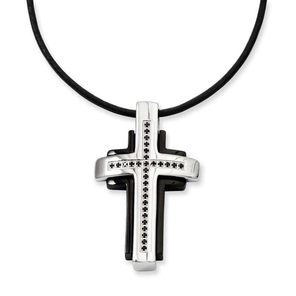 Stainless Steel Black-plated & Black Diamonds 18in Cross Necklace (1 mm) - 18 in