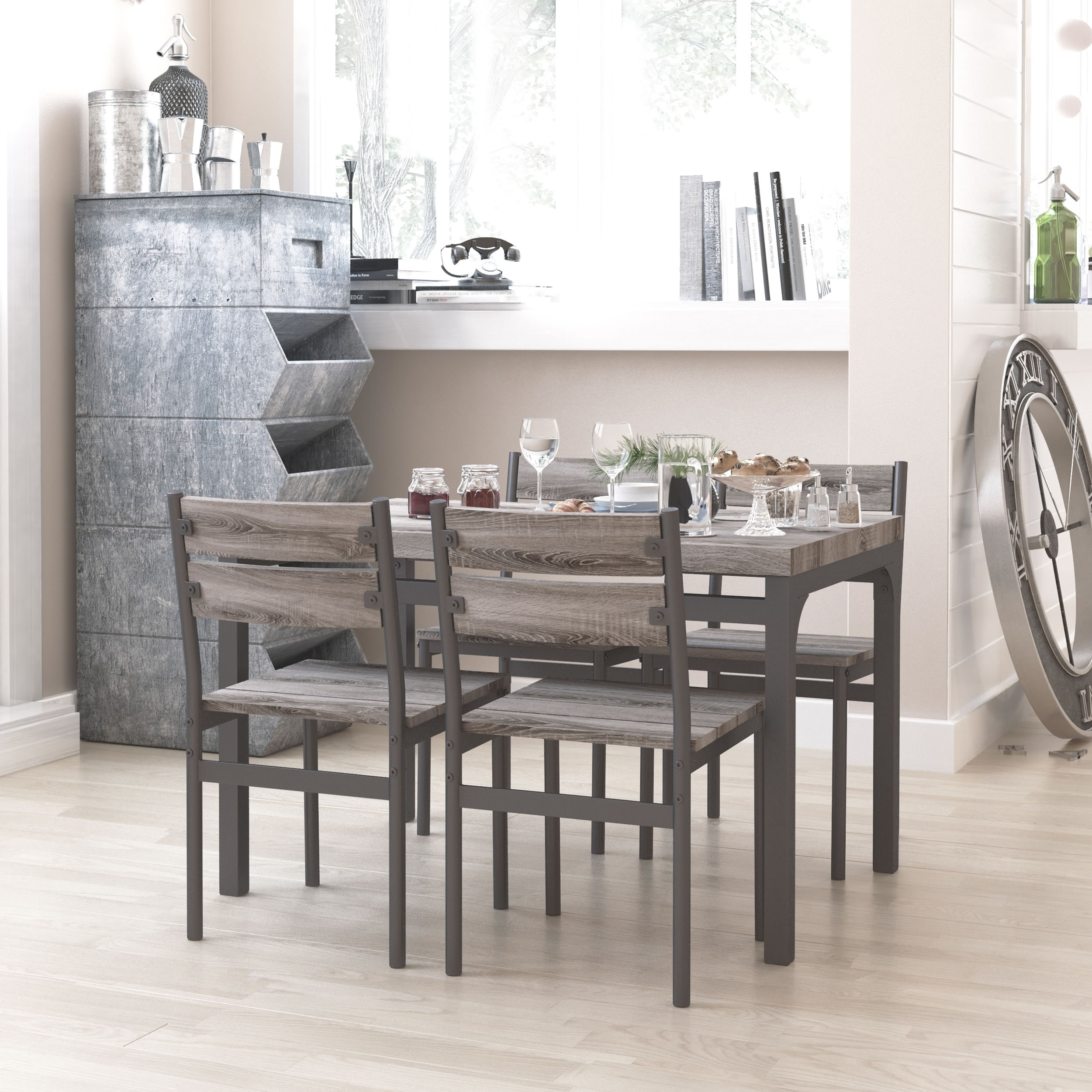 Zenvida 5 Piece Dining Set Rustic Grey Wooden Kitchen Table And 4 Chairs Overstock 21803691