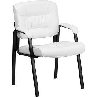 Silkeborg White Leather Executive Side Reception Chair w/Black Frame Finish