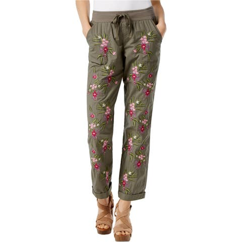 I-N-C Womens Embroidered Casual Jogger Pants