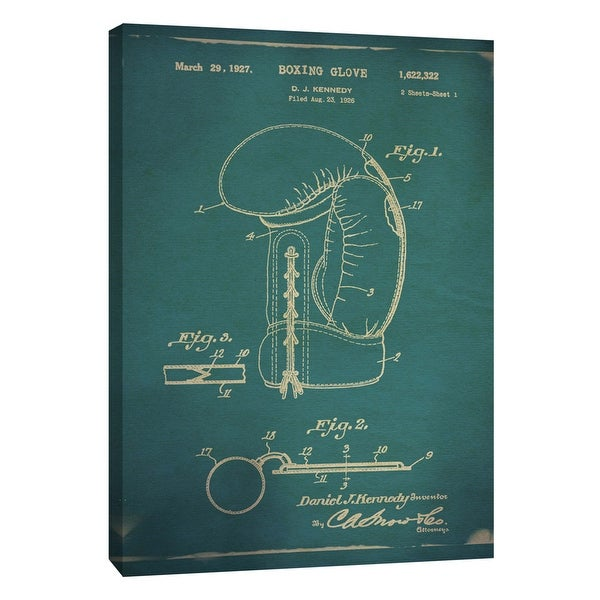 "PTM Images 9-108982 PTM Canvas Collection 10"" x 8"" - ""Boxing Glove Patent Blue"" Giclee Boxing Art Print on Canvas"