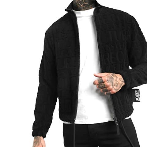 Versace Jeans Couture Men's All Over Jacquard Logo Jacket Black