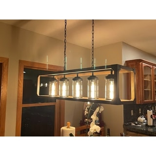 Daniela 5-light Antique Black Metal and Natural Wood Glass Chandelier