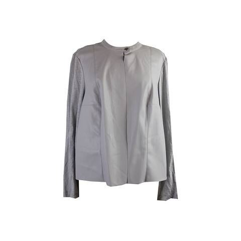 Alfani Grey Mixed-Media Pleather Front Jacket L